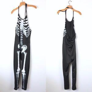 Spandex black halter skeleton Halloween costume